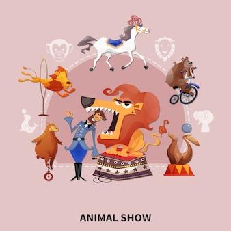 Ilustracja pokaz zwierząt