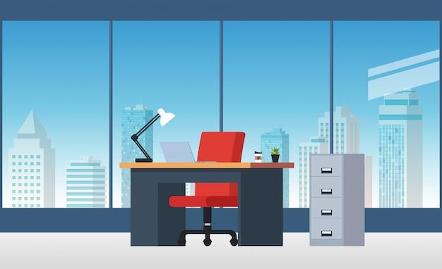 Ilustracja pokoju biurowego ze stołami, półkami i komputerami.