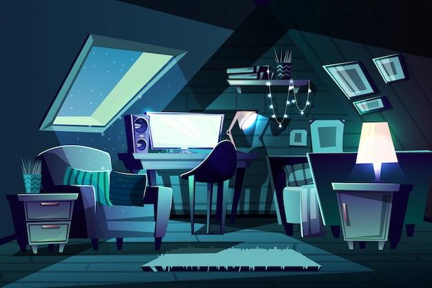 Ilustracja pokoju dziewczynki w nocy. kreskówka poddasze z oknem, fotel z poduszką