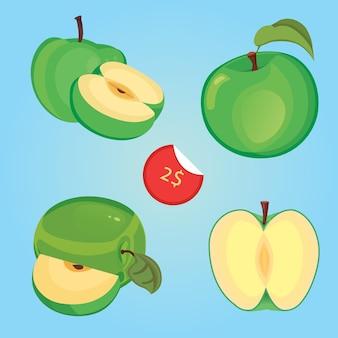 Ilustracja pokrojone zielone jabłko i nagrodę