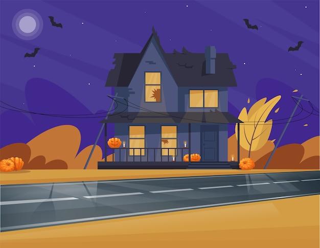 Ilustracja pół domu o tematyce halloween