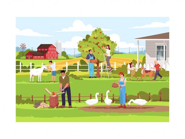 Ilustracja pół pracy farmy