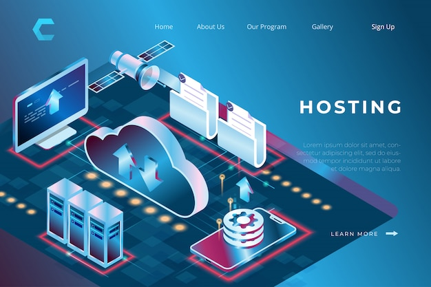 Ilustracja połączenia hostingu, administratora serwera, bezpieczeństwa bazy danych w izometrycznym stylu 3d