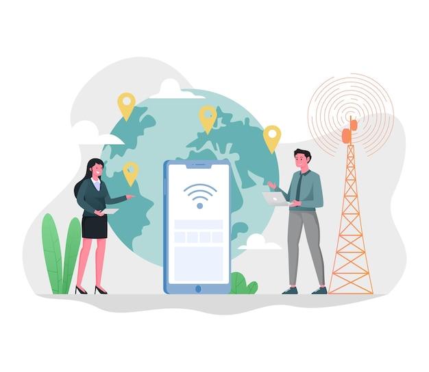 Ilustracja połączenia internetowego na całym świecie