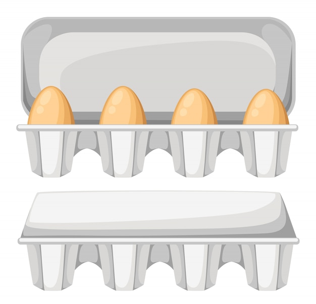Ilustracja pole jajko z brązowym świeżych jaj kurzych. pojemnik na jajka otwierany i zamykany. na białym tle.