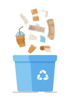 Ilustracja pole recyklingu śmieci papierowych. oddzielny kosz na śmieci do recyklingu na papier. zbiórka papierowych kubków, niechcianych dokumentów, paragonów i nie tylko.