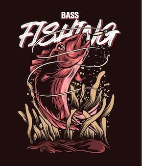 Ilustracja połowów red bass