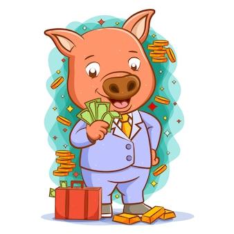 Ilustracja pomarańczowej świni z otaczającymi go monetami i złotem