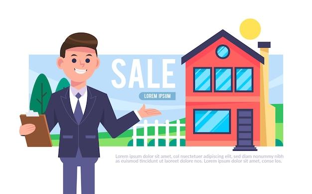 Ilustracja pomocy nieruchomości z człowiekiem