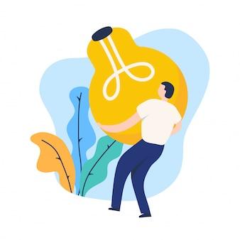 Ilustracja pomysł żarówki, mężczyźni przynoszą kreatywny pomysł na jego biznes