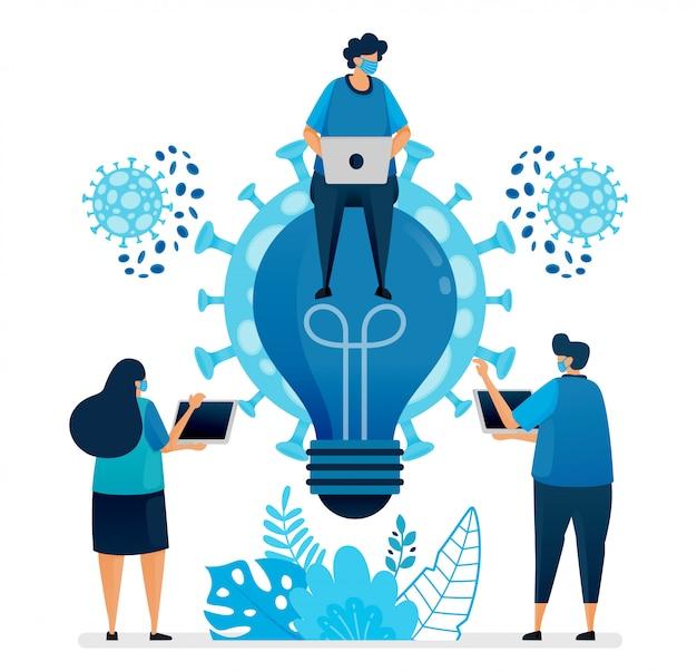 Ilustracja pomysłów biznesowych i burzy mózgów w celu rozwiązania problemów biznesowych w pandemii covid-19 i nowej normalności. projekt może być wykorzystany do strony docelowej, strony internetowej, aplikacji mobilnej, plakatu, ulotek, banera