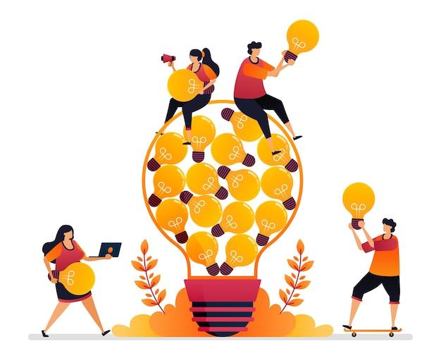Ilustracja pomysłu i inspiracji, szukanie rozwiązania problemu przy użyciu wiedzy burzy mózgów