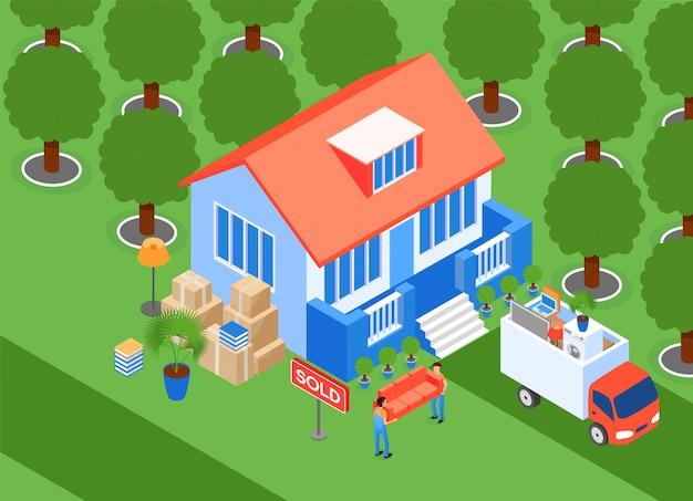 Ilustracja porters carry isometric furniture. przenosi load couch do van