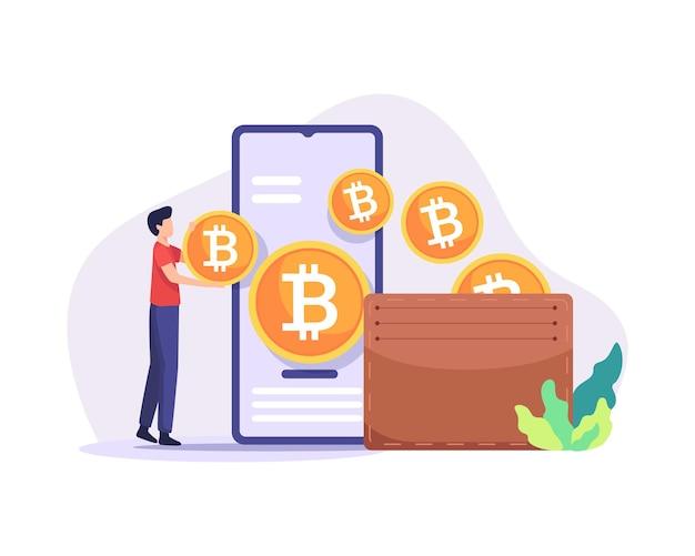Ilustracja portfela bitcoin metoda płatności z koncepcją kopania kryptowalut cyfrowych