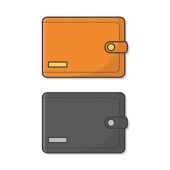 Ilustracja portfela. płaski zestaw obiektów biznesowych