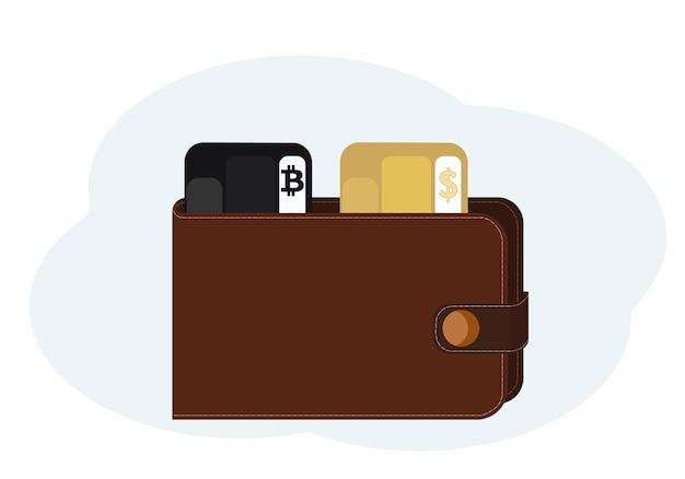 Ilustracja portfela z plastikowymi kartami z symbolami bitcoina i dolara
