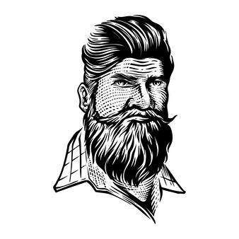 Ilustracja portret brody hipster mężczyzna w stylu grawerowane