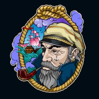 Ilustracja portret kapitana