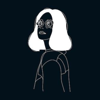 Ilustracja portret kobiety kwiatowy