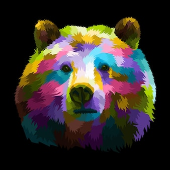Ilustracja portret pop-art kolorowa panda