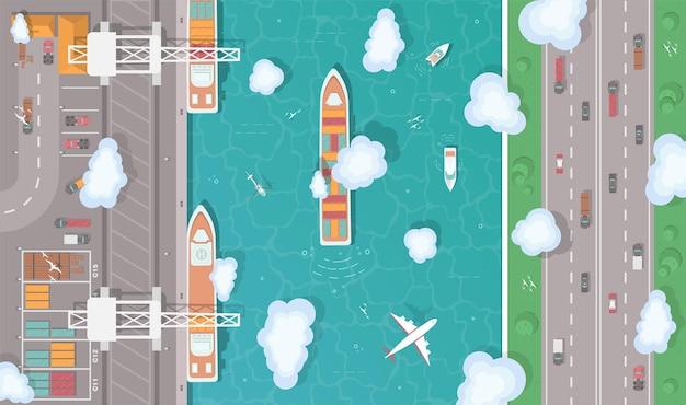 Ilustracja portu cargo w widoku z góry płaski