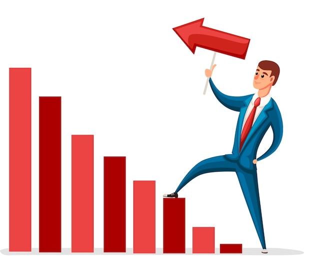 Ilustracja poruszania się biznesmena. postać . biznesmen chodzenia po schodach. wykres w górę. ilustracja na białym tle.