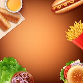 Ilustracja posiłku fast food: frytki, hot dog, cheeseburger