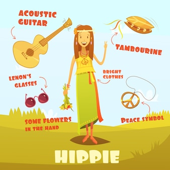 Ilustracja postać hipis