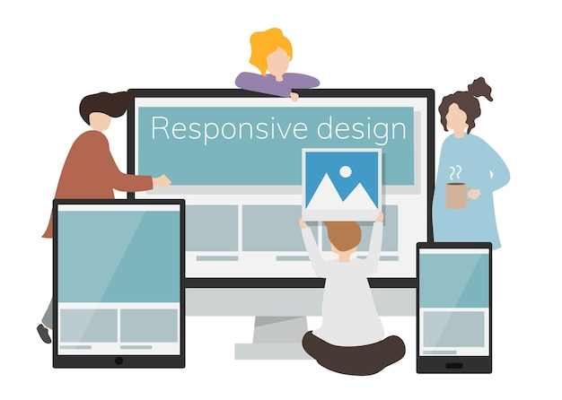 Ilustracja postać z reagującym projektem na ekranie