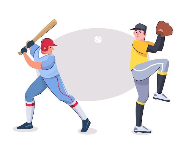 Ilustracja postaci baseballistów w różnych pozach. ciasto z kijem, dzban z rękawicą, przedmioty w stroju sportowym. profesjonalna konkurencja, rozrywka, koncepcja hobby