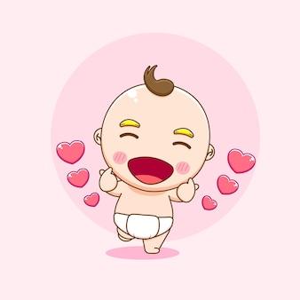 Ilustracja postaci cute chłopca stwarzających miłość palec