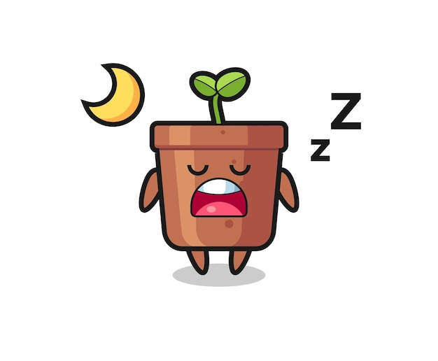 Ilustracja postaci doniczki do spania w nocy, ładny styl na koszulkę, naklejkę, element logo