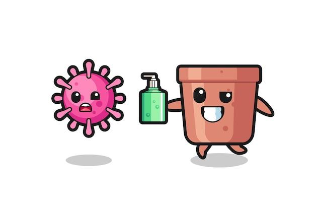 Ilustracja postaci doniczki goniącej złego wirusa za pomocą środka do dezynfekcji rąk, ładny styl na koszulkę, naklejkę, element logo