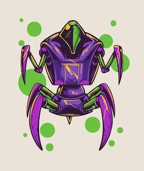 Ilustracja postaci fioletowy robota
