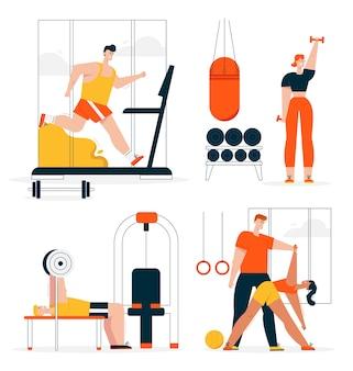 Ilustracja postaci fitness w zestawie sceny siłowni. mężczyzna biegnie na bieżni, sztanga wyciskanie na ławce. kobieta ćwiczy hantle, jogę lub rozciąganie z osobistym trenerem
