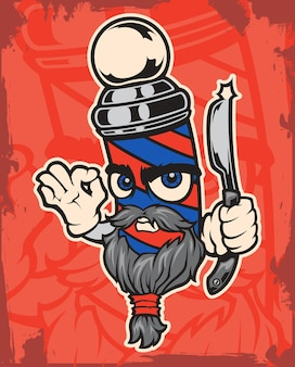Ilustracja postaci fryzjera na czerwonym tle.
