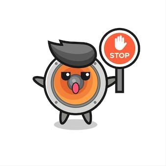 Ilustracja postaci głośnika trzymająca znak stopu, ładny styl na koszulkę, naklejkę, element logo