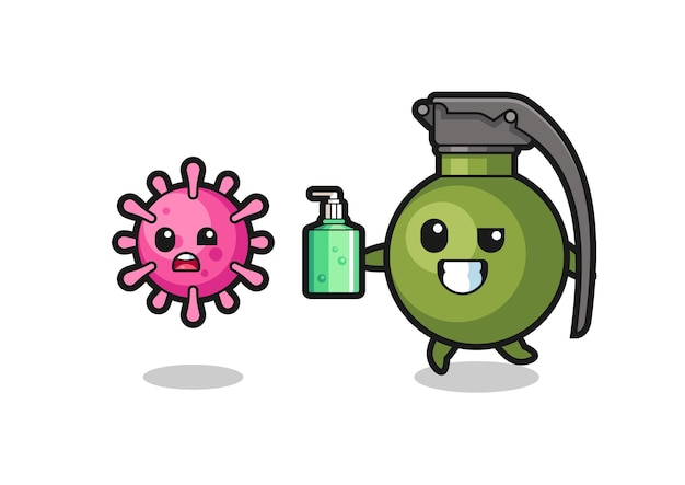 Ilustracja postaci granatu goniącego złego wirusa za pomocą środka do dezynfekcji rąk, ładny styl na koszulkę, naklejkę, element logo