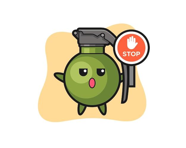 Ilustracja postaci granatu trzymającego znak stopu, ładny styl na koszulkę, naklejkę, element logo