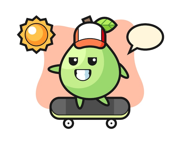 Ilustracja postaci guawy jeździ na deskorolce, ładny styl na koszulkę, naklejkę, element logo