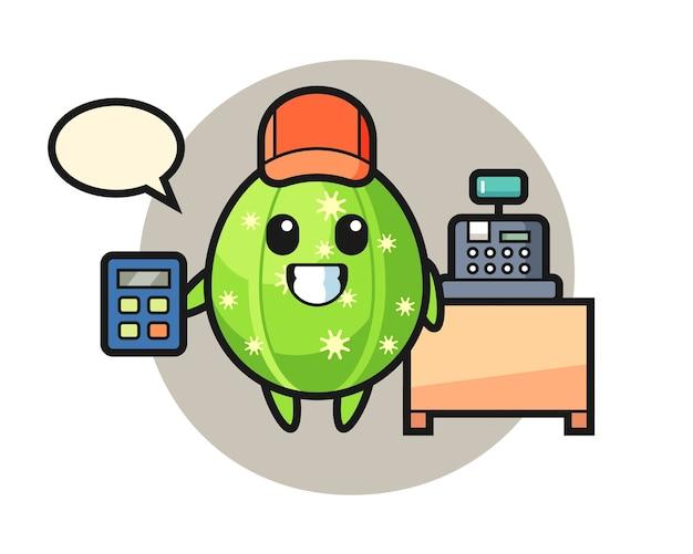 Ilustracja postaci kaktusa jako kasjera