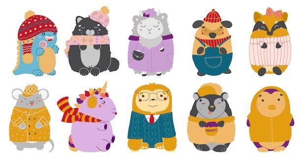 Ilustracja postaci kawaii uroczych zwierzątek