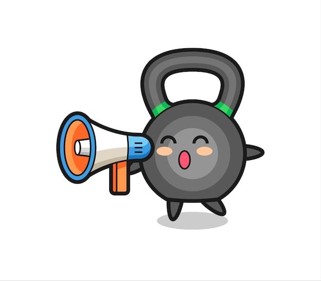 Ilustracja postaci kettlebell trzymająca megafon, ładny styl na koszulkę, naklejkę, element logo