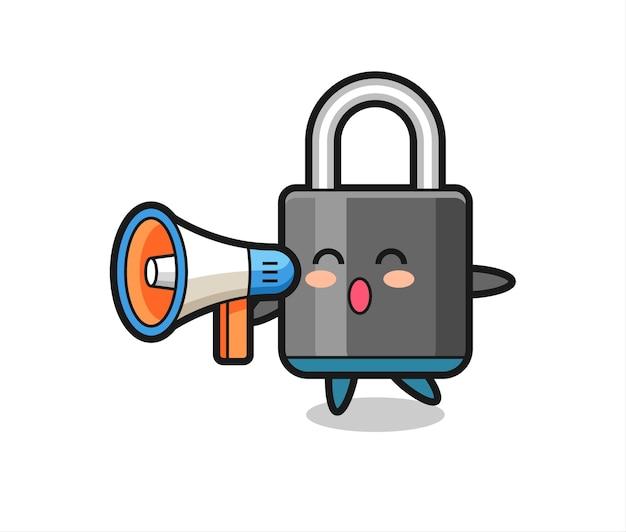 Ilustracja postaci kłódki trzymającej megafon, ładny styl na koszulkę, naklejkę, element logo