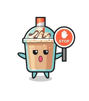 Ilustracja postaci koktajlu mlecznego trzymającego znak stop