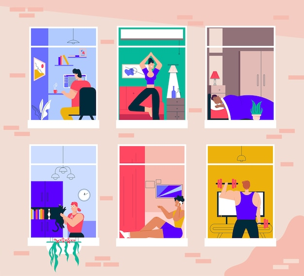 Ilustracja postaci ludzi w oknach. mężczyzna, kobieta zostaje w domu, wykonuje czynności: praca zdalna, treningi sportowe, joga, opieka nad zwierzętami, rozmowy telefoniczne, odpoczynek i sen. codzienna rutyna w samoizolacji