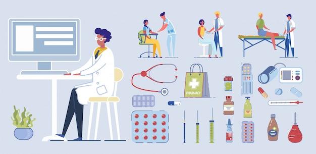 Ilustracja postaci medycznych. lekarz bandaż rannych nóg i dłoni. pierwsza pomoc w szpitalu. pielęgniarka pobrać próbkę krwi strzykawką. sprzęt medyczny, stetoskop, termometr, pigułka, tabletka