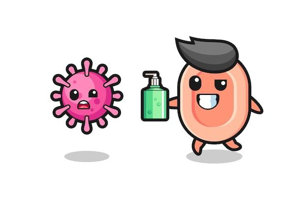 Ilustracja postaci mydła goniącego złego wirusa za pomocą środka do dezynfekcji rąk, ładny styl na koszulkę, naklejkę, element logo