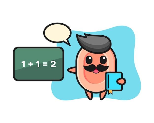 Ilustracja postaci mydła jako nauczyciela, ładny styl na koszulkę, naklejkę, element logo
