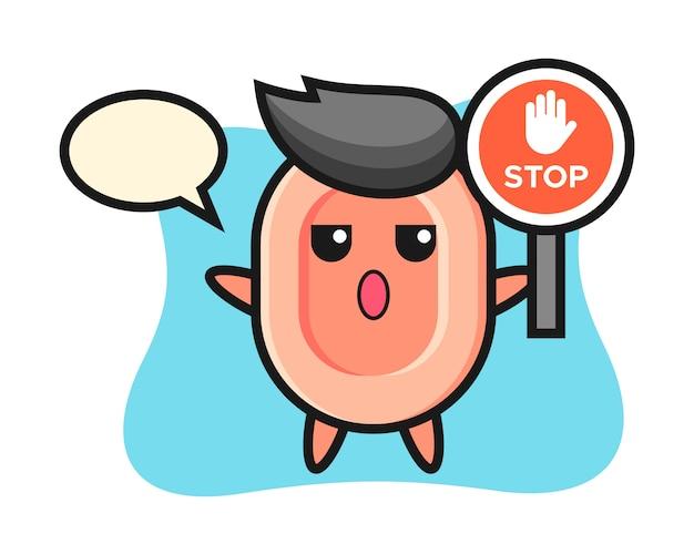 Ilustracja postaci mydła trzymająca znak stop, ładny styl na koszulkę, naklejkę, element logo